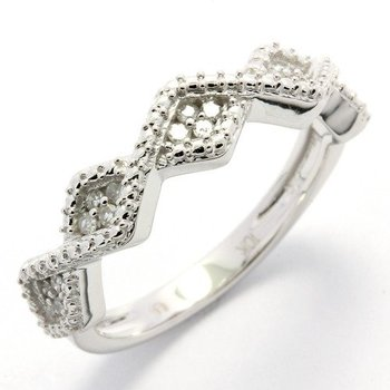 Solid 10k White Gold, 0.20ctw Genuine Diamonds Ring size 7