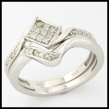Solid 10k White Gold, 0.20ctw Genuine H-SI Diamonds Set of Two Rings sz 6