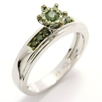 Solid 10k White Gold, 0.22ctw Genuine Green Diamonds Engagement Ring sz 7