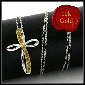 Solid 10k White Gold, 0.23ctw Genuine Yellow Diamonds Cross Necklace