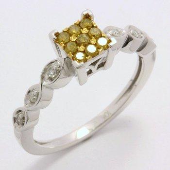 Solid 10k White Gold, 0.24ctw Genuine Diamonds Ring sz 7