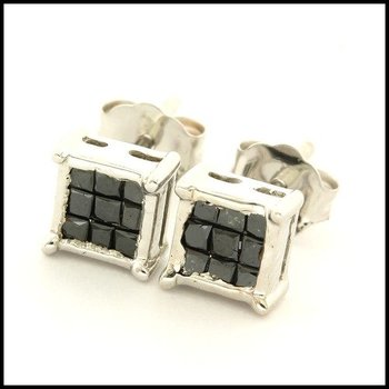 Solid 10k White Gold 0.25ctw Genuine Black Diamond Stud Earrings