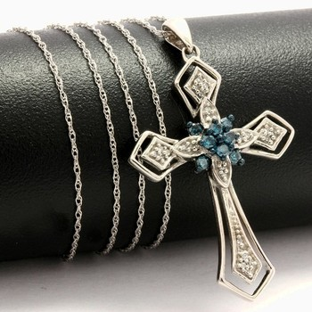 Solid 10k White Gold, 0.25ctw Genuine Blue & White Diamonds Cross Necklace