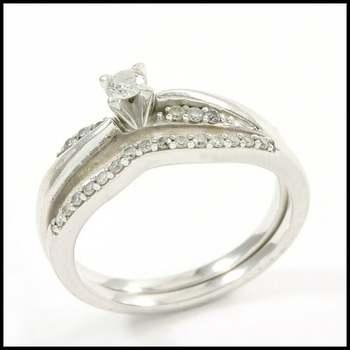 Solid 10k White Gold, 0.25ctw Genuine Diamond Bridal Engagement Ring Set Size 7