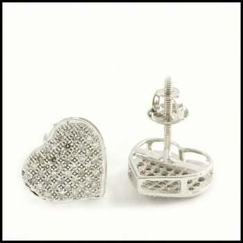 Solid 10k White Gold, 0.25ctw Genuine Diamond Heart Shape Stud Earrings