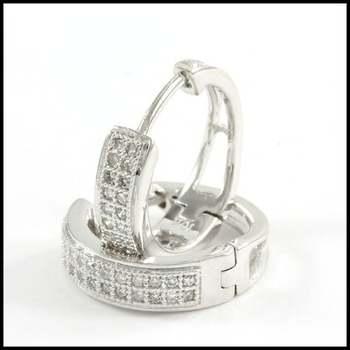 Solid 10k White Gold, 0.25ctw Genuine Diamond Hoop Earrings