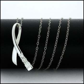 Solid 10k White Gold, 0.25ctw Genuine Diamond Necklace