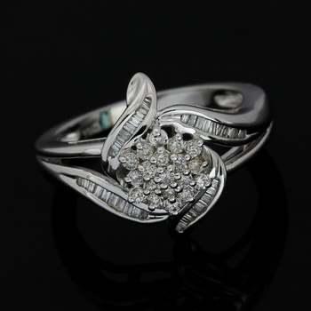 Solid 10k White Gold, 0.25ctw Genuine Diamond Ring Size 7
