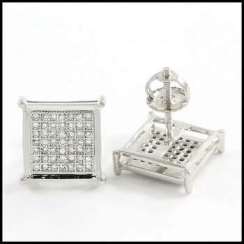 Solid 10k White Gold, 0.25ctw Genuine Diamond Stud Earrings