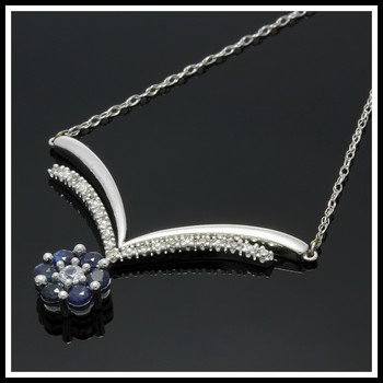 Solid 10k White Gold, 0.25ctw Genuine Diamonds & 0.40ctw Sapphire Necklace