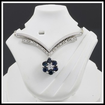 Solid 10k White Gold, 0.25ctw Genuine Diamonds & 0.48ctw Sapphire Necklace