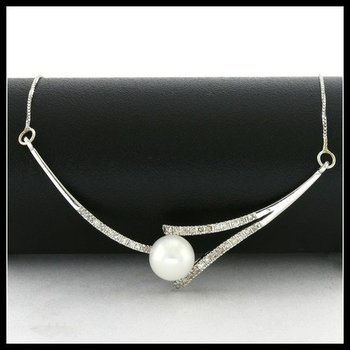 Solid 10k White Gold, 0.25ctw Genuine Diamonds & 6.5mm Fresh Water Pearl Necklace