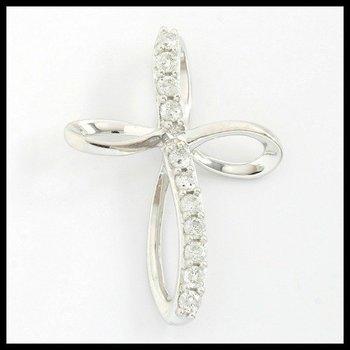 Solid 10k White Gold, 0.25ctw Genuine Diamonds Cross Pendant