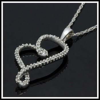 Solid 10k White Gold, 0.25ctw Genuine Diamonds Heart Necklace