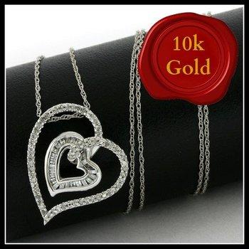 Solid 10k White Gold, 0.25ctw Genuine Diamonds Heart Shape Necklace