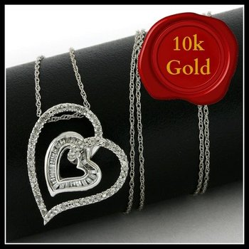 Solid 10k White Gold, 0.25ctw Genuine Diamonds Heart Shape Necklace