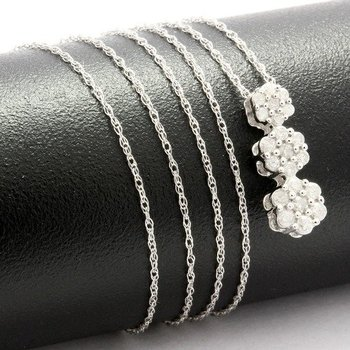 Solid 10k White Gold, 0.25ctw Genuine Diamonds Necklace