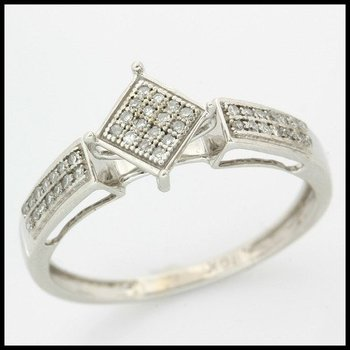 Solid 10k White Gold, 0.25ctw Genuine Diamonds Ring size 8