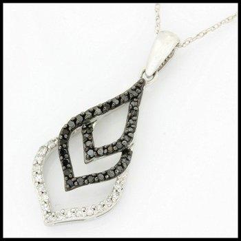 Solid 10k White Gold, 0.25ctw Genuine I1 Black Diamond & Genuine I1-I2 Diamond Necklace