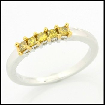 Solid 10k White Gold, 0.25ctw Genuine Yellow I1 Diamonds Ring sz 7