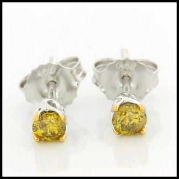 Solid 10k White Gold, 0.25ctw Genuine Yellow I1 Diamonds Stud Earrings