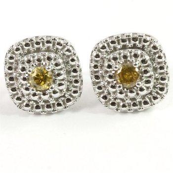 Solid 10k White Gold 0.25ctw Genuine Yellow & White Diamond Stud Earrings