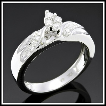 Solid 10k White Gold, 0.27ctw Genuine Diamonds Ring sz 7