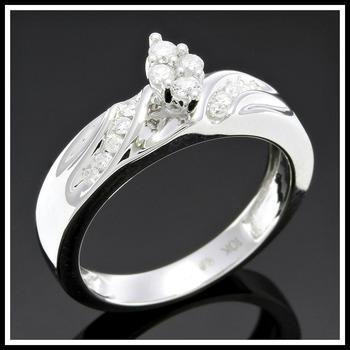 Solid 10k White Gold, 0.27ctw Genuine Diamonds Ring sz 7