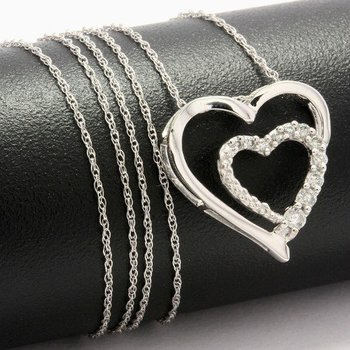 Solid 10k White Gold, 0.27ctw White Sapphire Heart Shape Necklace