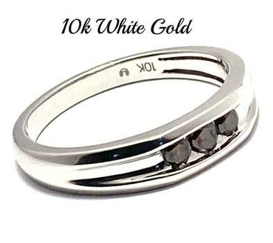 Solid 10k White Gold, 0.30ctw Genuine Chocolate Diamond Men's Wedding Band Ring Size 9.5
