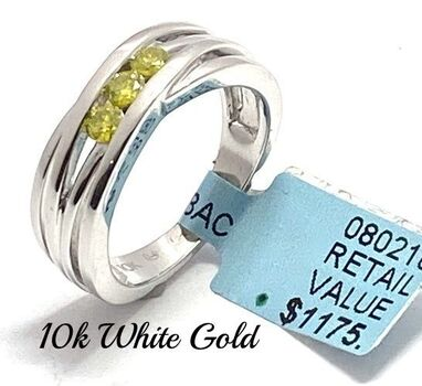 Solid 10k White Gold, 0.31ctw Genuine Fancy Yellow Diamond Ring Size 7