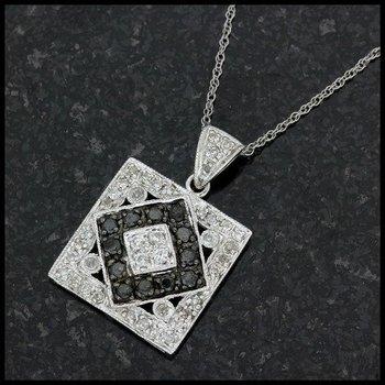 Solid 10k White Gold, 0.33ctw Genuine Black & White Diamonds Pendant Necklace