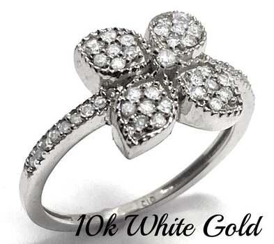 Solid 10k White Gold, 0.33ctw Genuine Diamond Ring Size 7