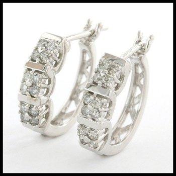 Solid 10k White Gold, 0.33ctw Genuine Diamonds Hoop Earrings