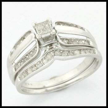 Solid 10k White Gold, 0.33ctw Genuine Diamonds Set of Two Rings sz 7