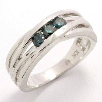 Solid 10k White Gold, 0.34ctw Genuine Blue Diamonds Ring sz 6 3/4