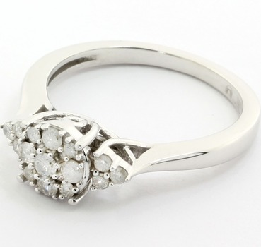 Solid 10k White Gold, 0.34ctw Genuine Diamonds Ring Size 7