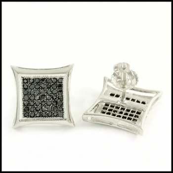 Solid 10k White Gold, 0.35ctw Genuine Diamond Stud Earrings