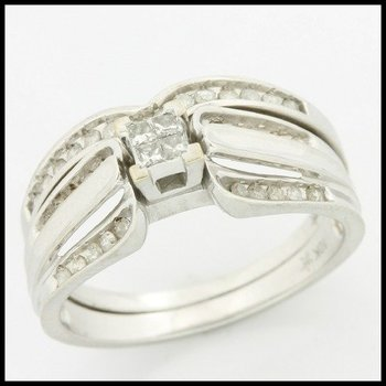 Solid 10k White Gold, 0.35ctw Genuine Diamonds Bridal Engagement Set of Two Rings sz 6 3/4