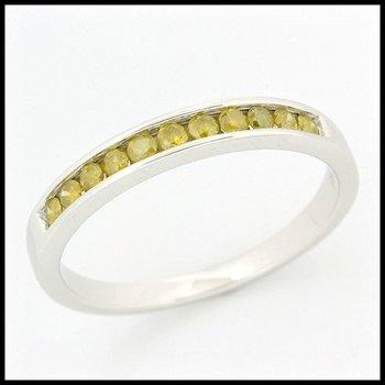 Solid 10k White Gold, 0.35ctw Genuine F.Y. I1 Diamonds Ring sz 6 3/4
