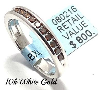 Solid 10k White Gold, 0.37ctw Genuine Chocolate Diamond Ring Size 7