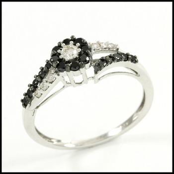 Solid 10k White Gold, 0.40ctw Genuine Black & White Diamond Ring Size 8.5