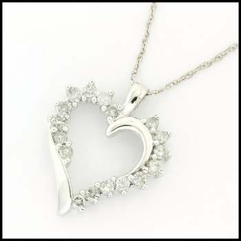 Solid 10k White Gold, 0.40ctw Genuine Diamond Necklace with Heart Shape Pendant
