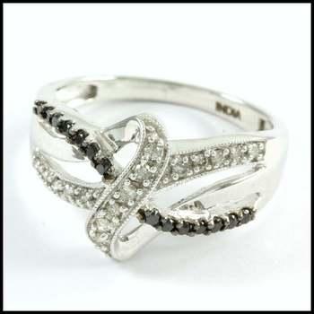 Solid 10k White Gold, 0.40ctw Genuine Diamond Ring Size 6.75