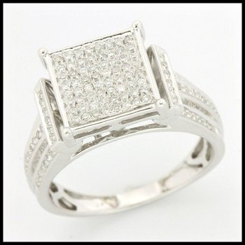 Solid 10k White Gold, 0.40ctw Genuine Diamonds Ring size 6