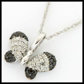 "Solid 10k White Gold, 0.41ctw Genuine Black & White Diamonds ""Butterfly"" Necklace"