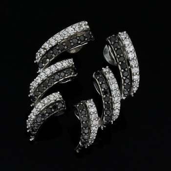 Solid 10k White Gold, 0.50ctw Genuine Black & White Diamond Earrings