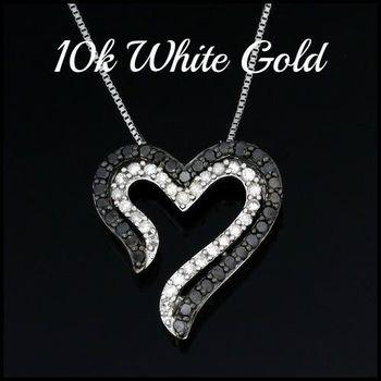Solid 10k White Gold, 0.50ctw Genuine Black & White Diamond Heart Shape Necklace