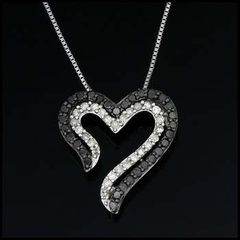 Solid 10k White Gold, 0.50ctw Genuine Black & White Diamond Heart Shape Necklace
