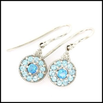 Solid 10k White Gold 0.50ctw Genuine Blue Topaz & 0.02ctw Genuine Diamond Earrings